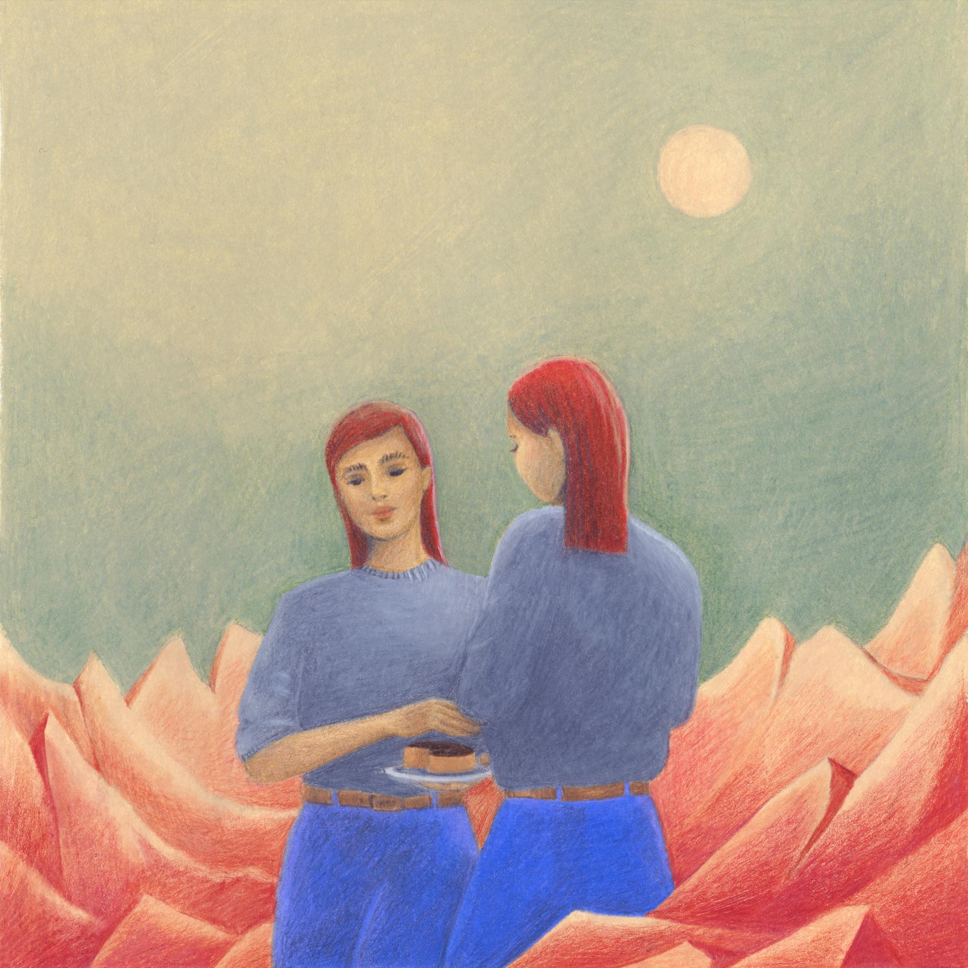 deux femmes rousses dans un univers surréaliste