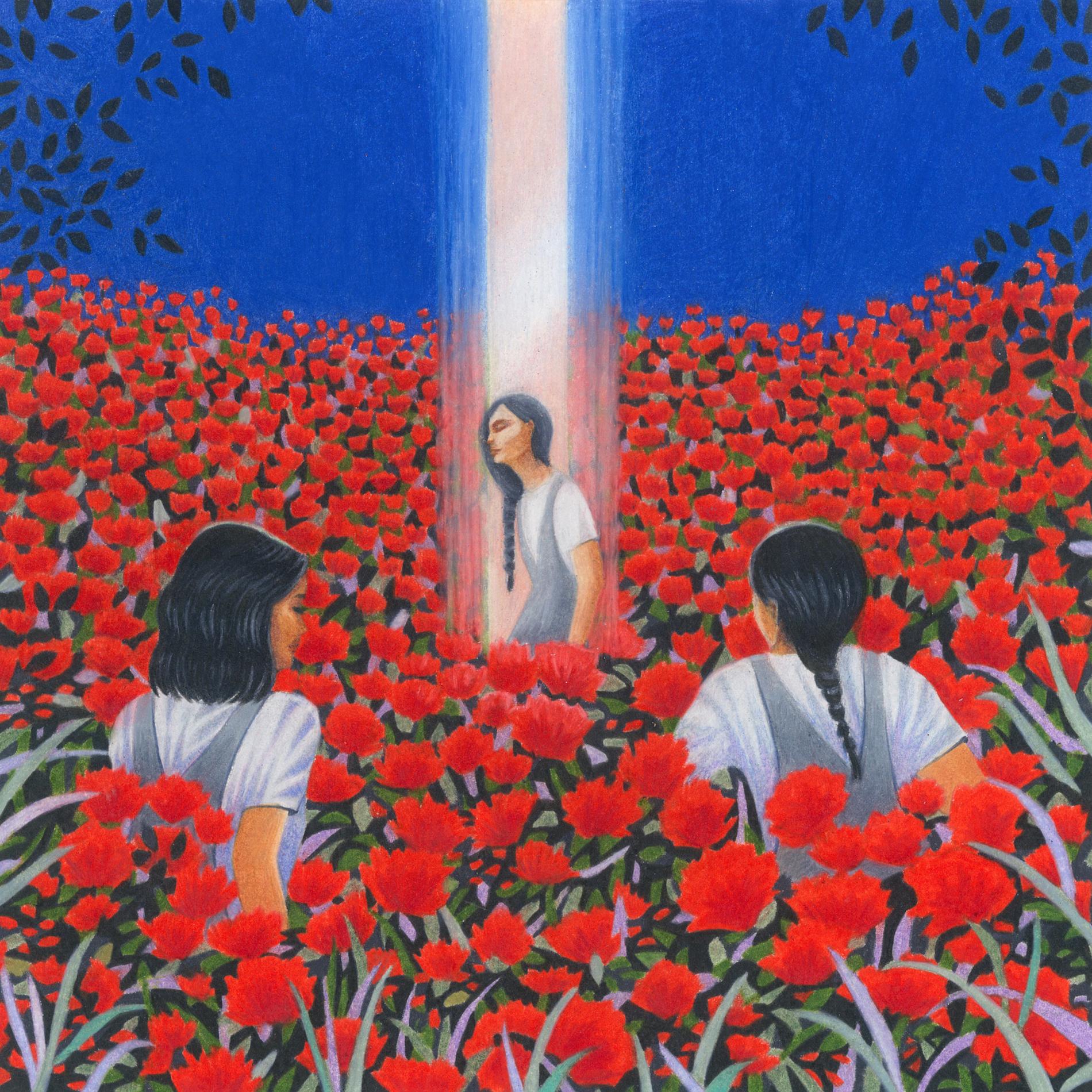 les ovnis débarquent, rayon de lumière, trois femmes brunes, champ de fleurs rouges sur ciel bleu