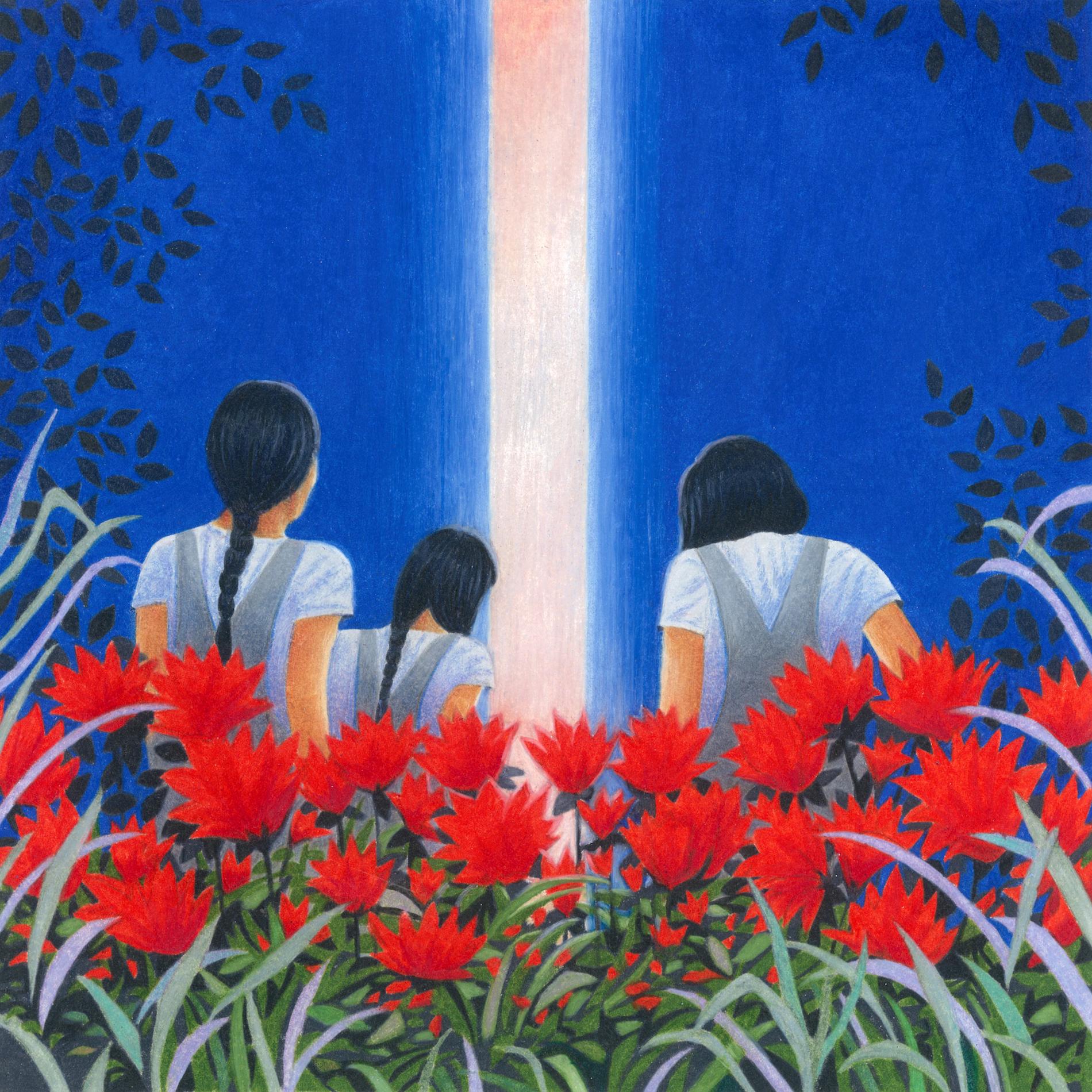 rayon de lumière, trois femmes brunes, fleurs rouges
