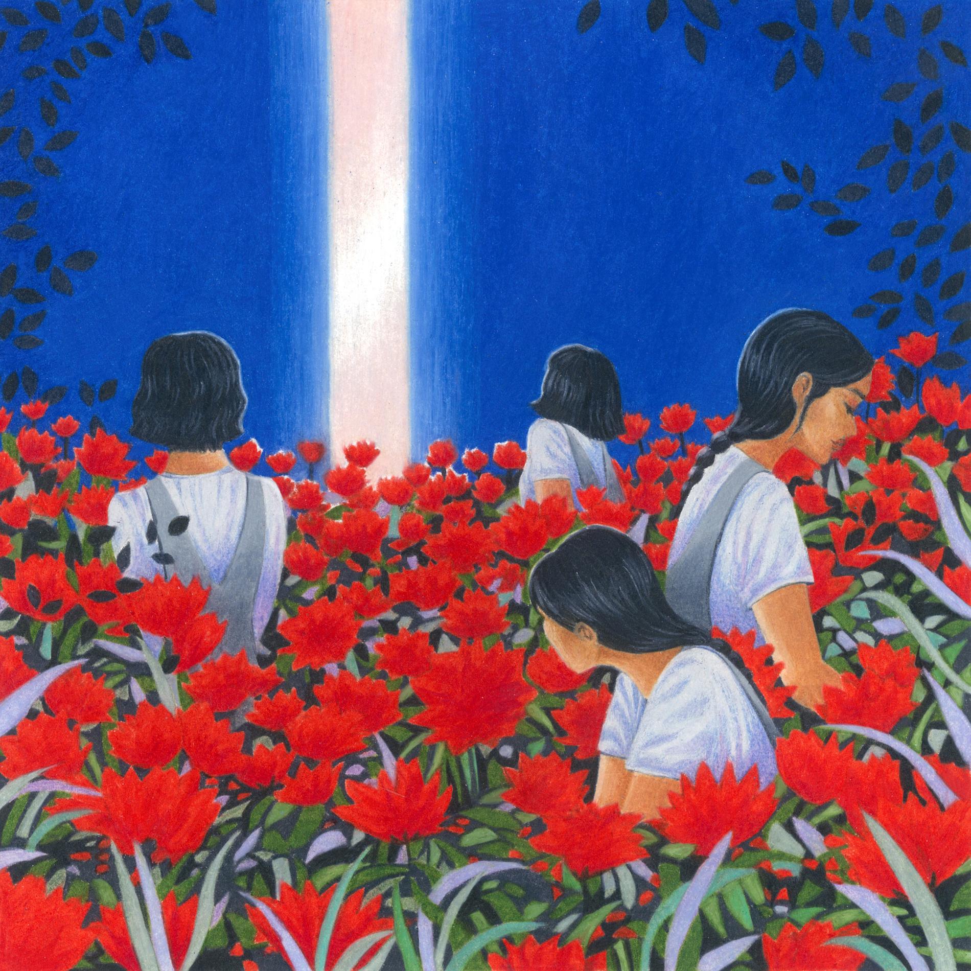 rayon de lumière, femmes brunes, fleurs rouges, ciel bleu