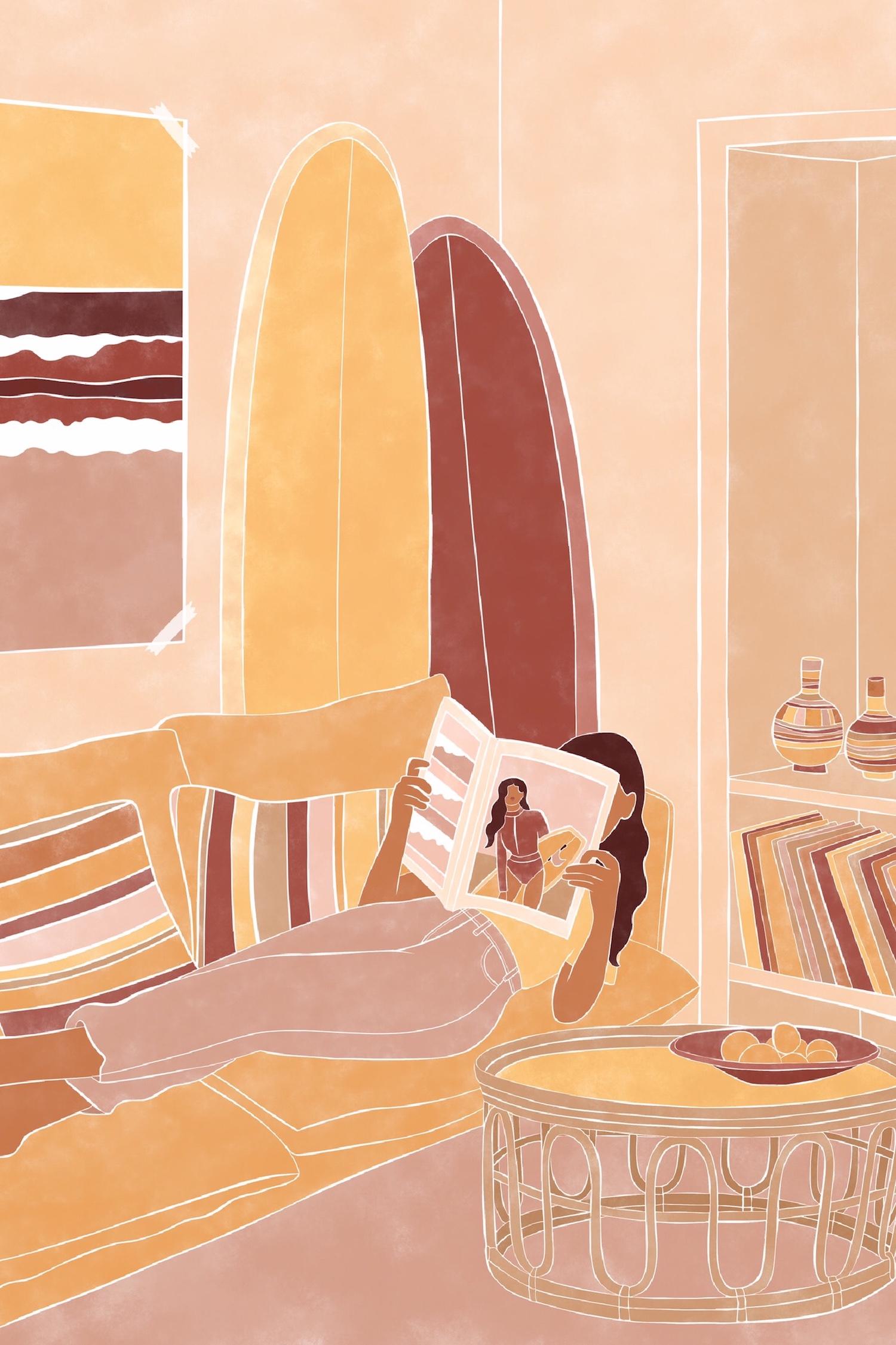Lecture d'un magazine de surfeuses sur canapé Jo-Anne Henderson