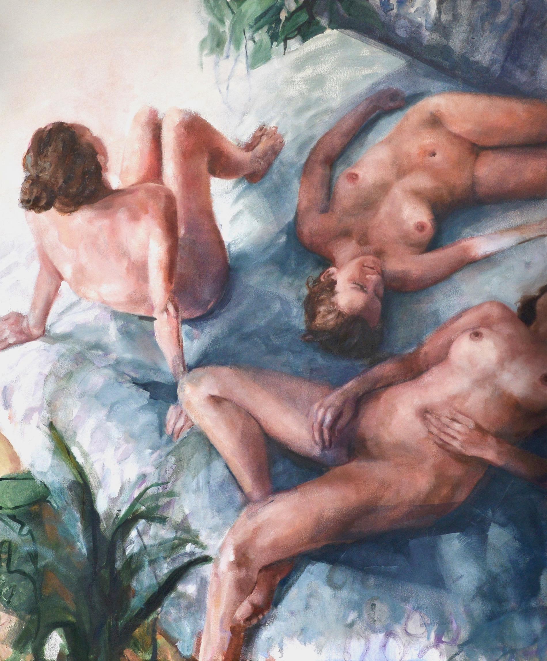trois femme nues sur un lit allongées