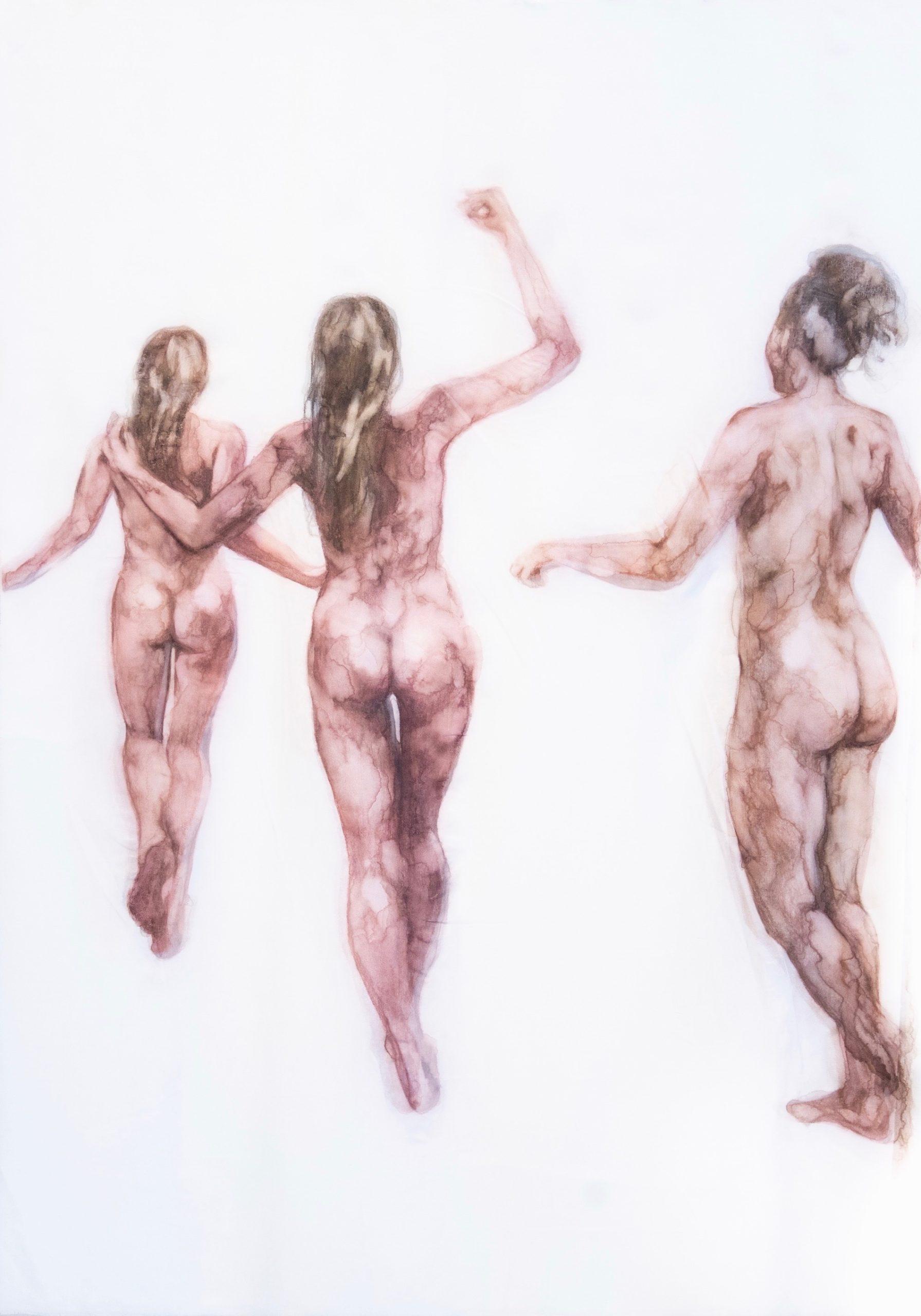 trois femmes nues de dos qui dansent