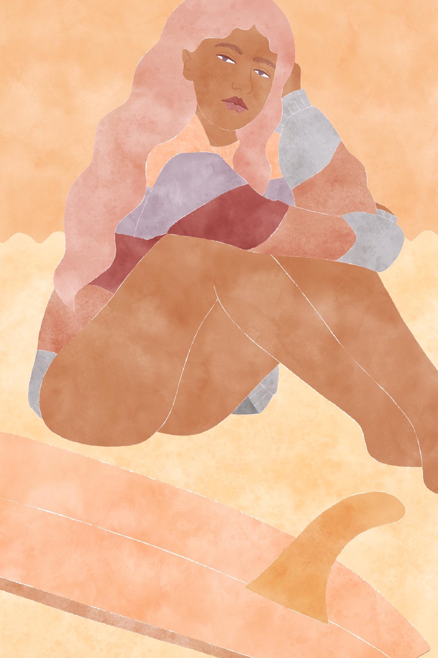 illustration de surfeuse par Jo-Anne Hendersen
