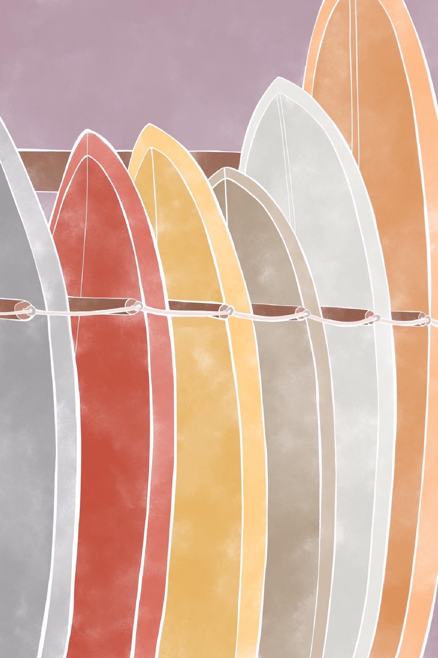 Ilustration de Jo-Anne Henderson des planches de surf
