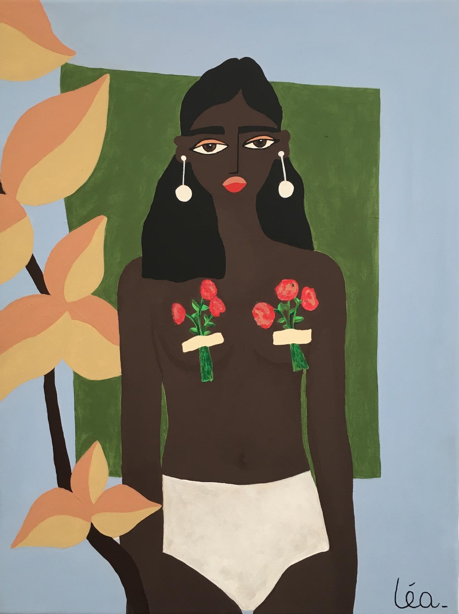 femme aux fleurs torse nu