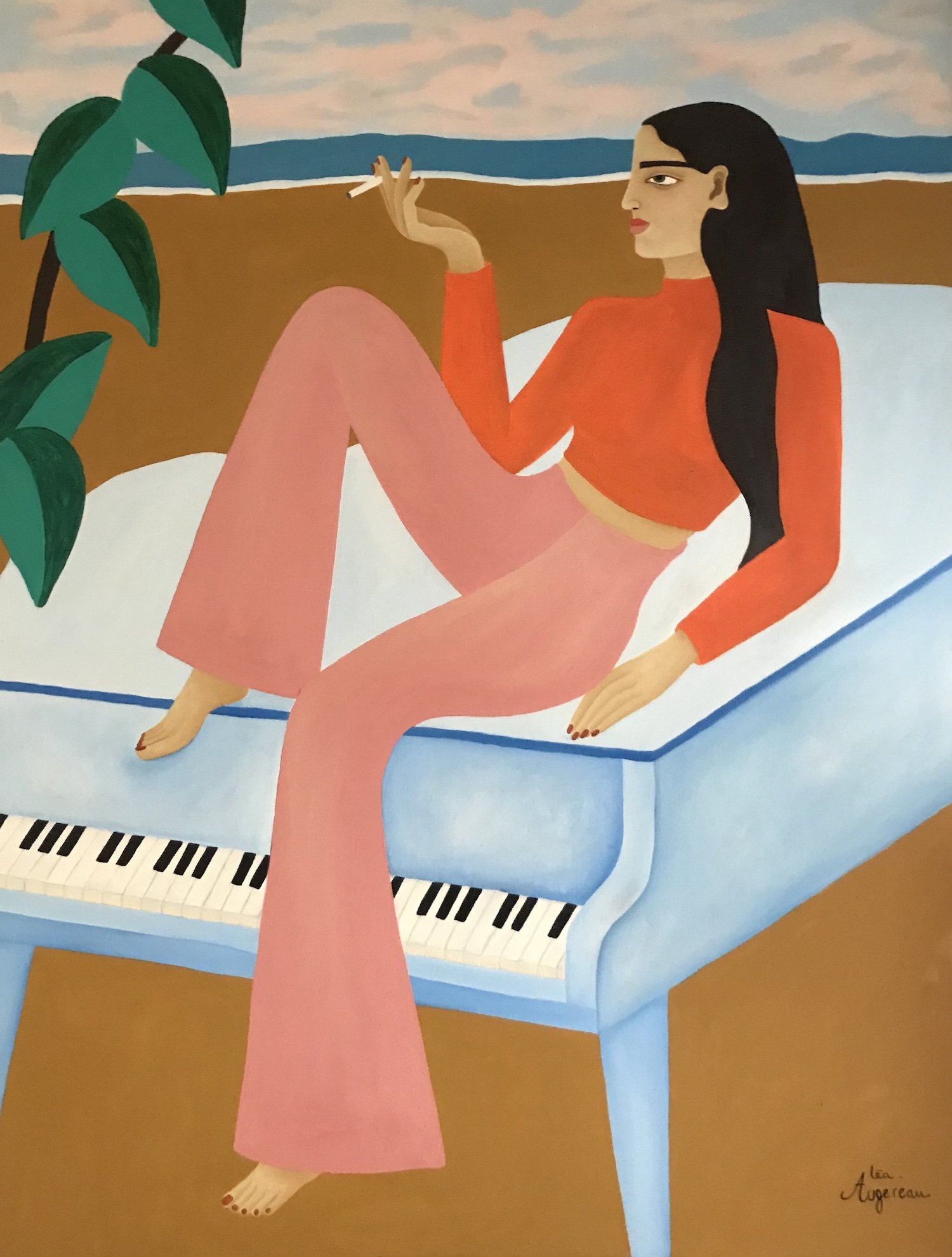 Léa Augereau la mélodie du piano bleu femme sur un piano bleu