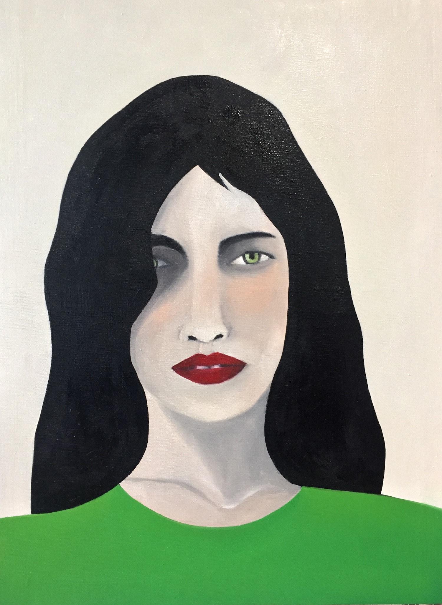 Rebecca Brodskis femme brune lèvres rouges haut vert