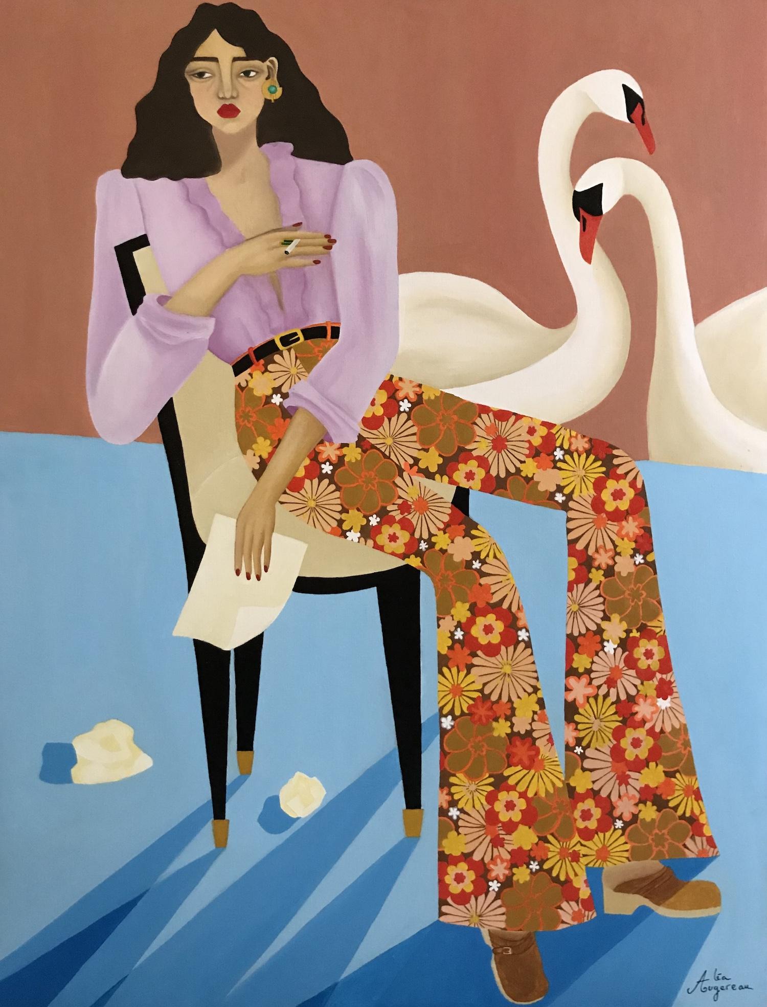 Un signe par Léa Augereau une femme et des cygnes