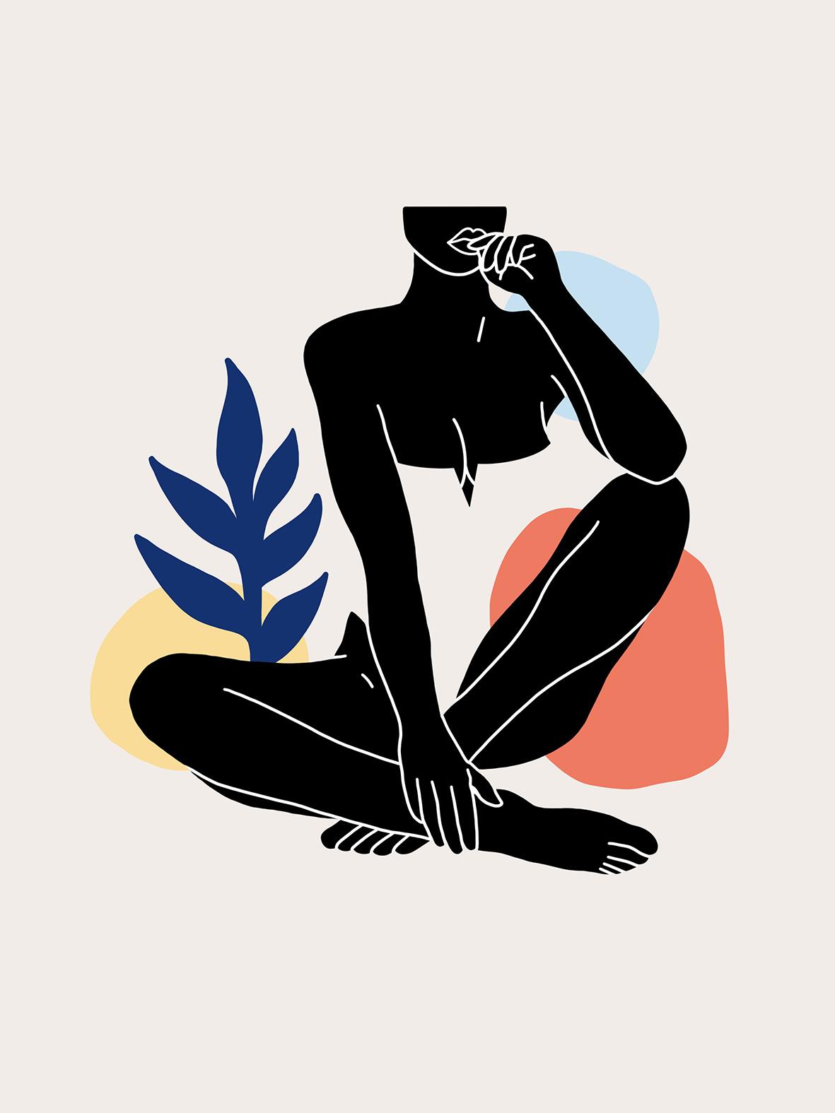 Femme assise sur le sable verdure