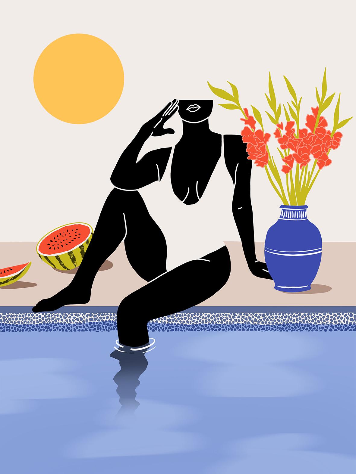 femme à la piscine