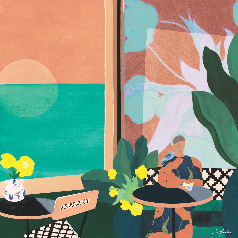 une fille dans un café avec vue sur mer