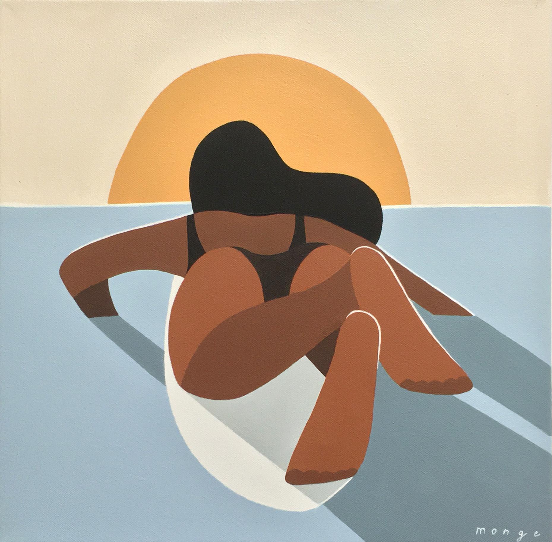 femme qui surfe au coucher du soleil