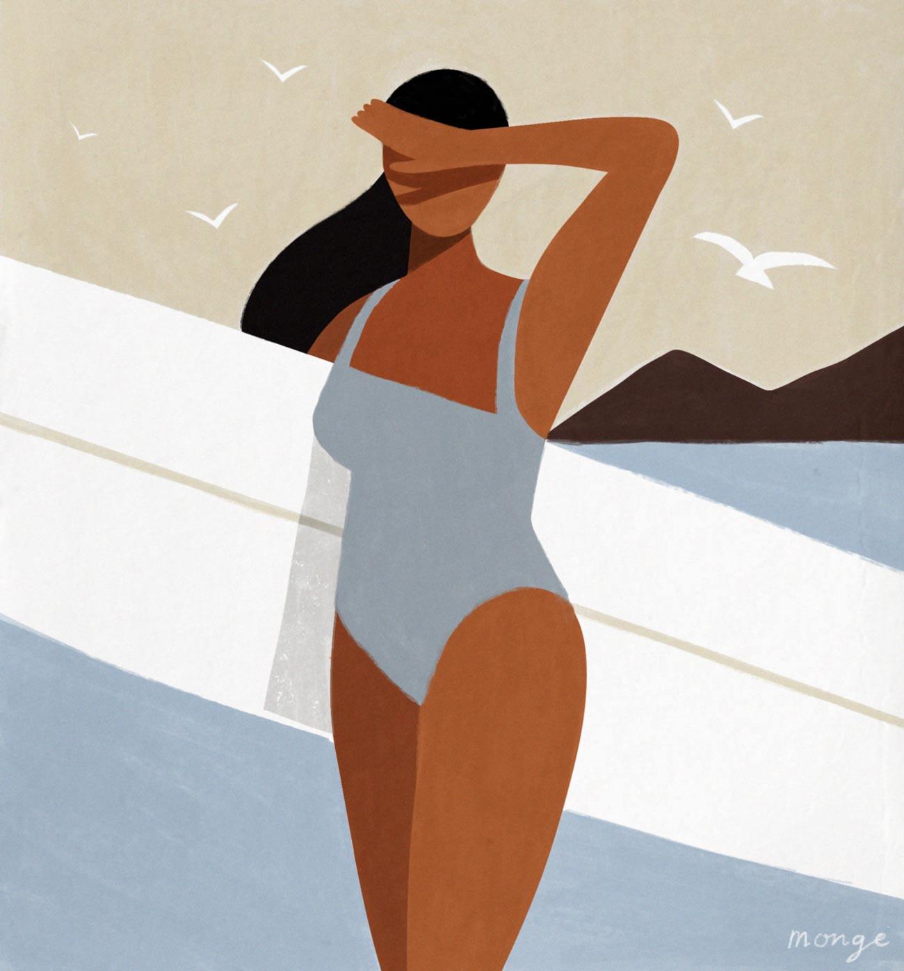 femme surf dessin