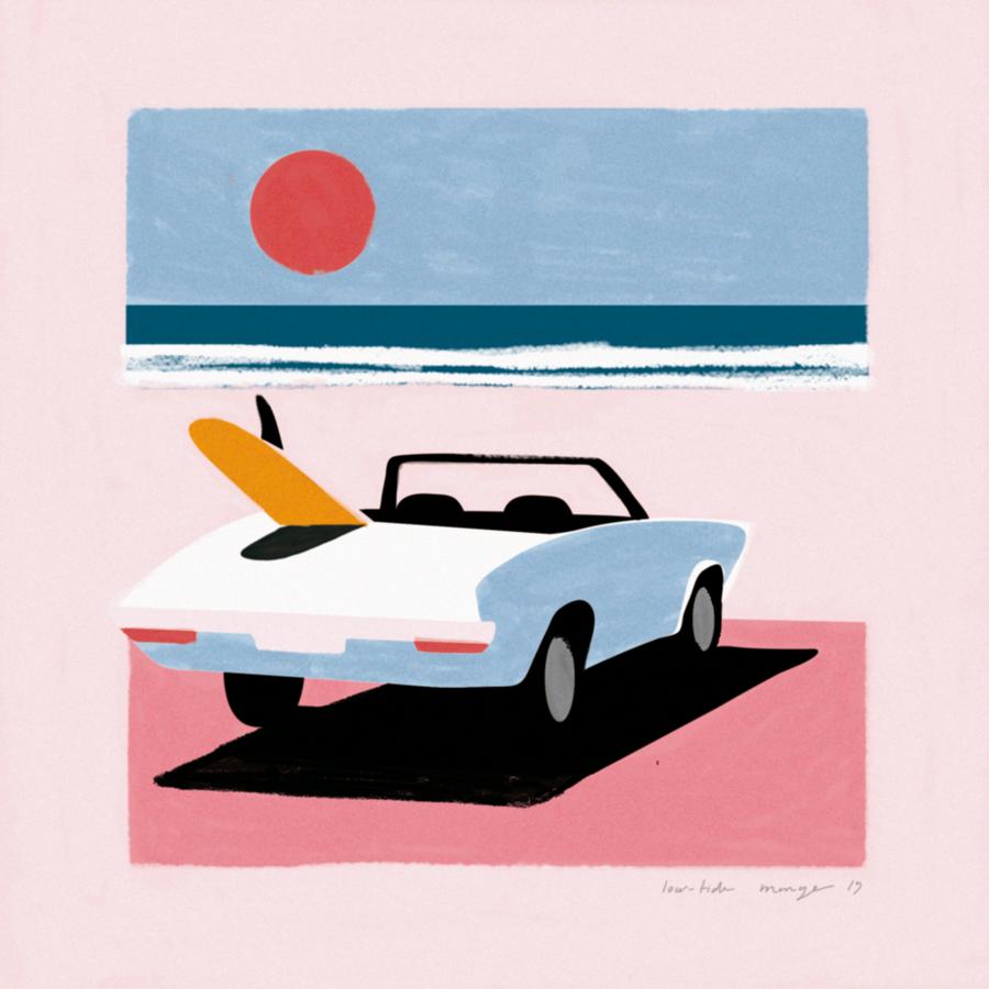 voiture au coucher du soleil sur la plage