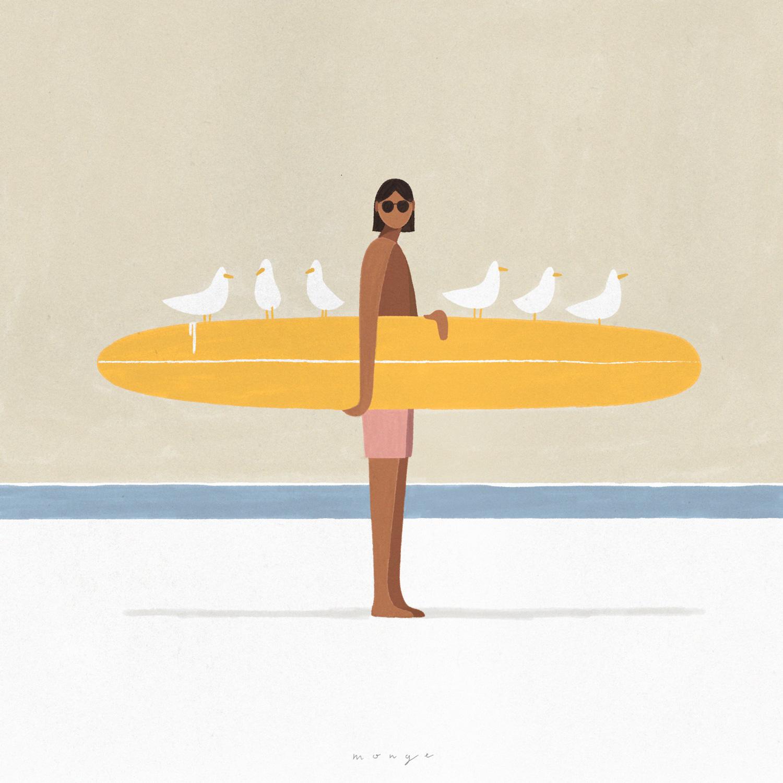 homme mouette surf
