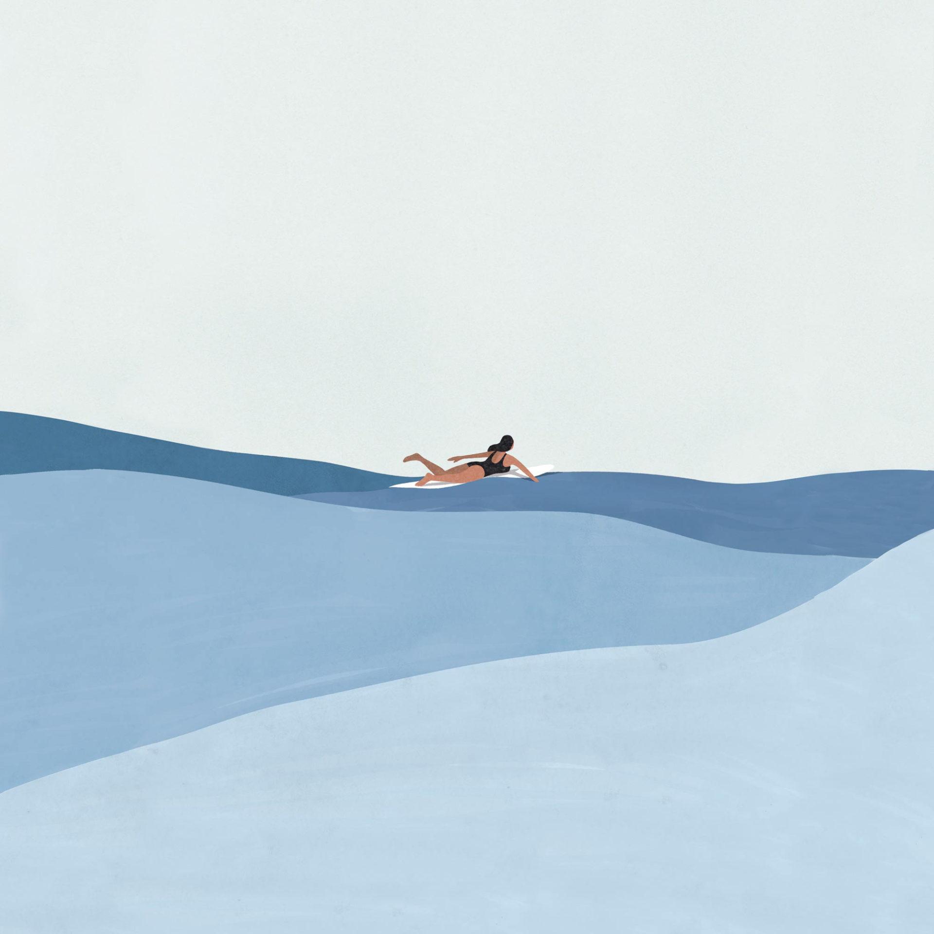 femme surf au loin