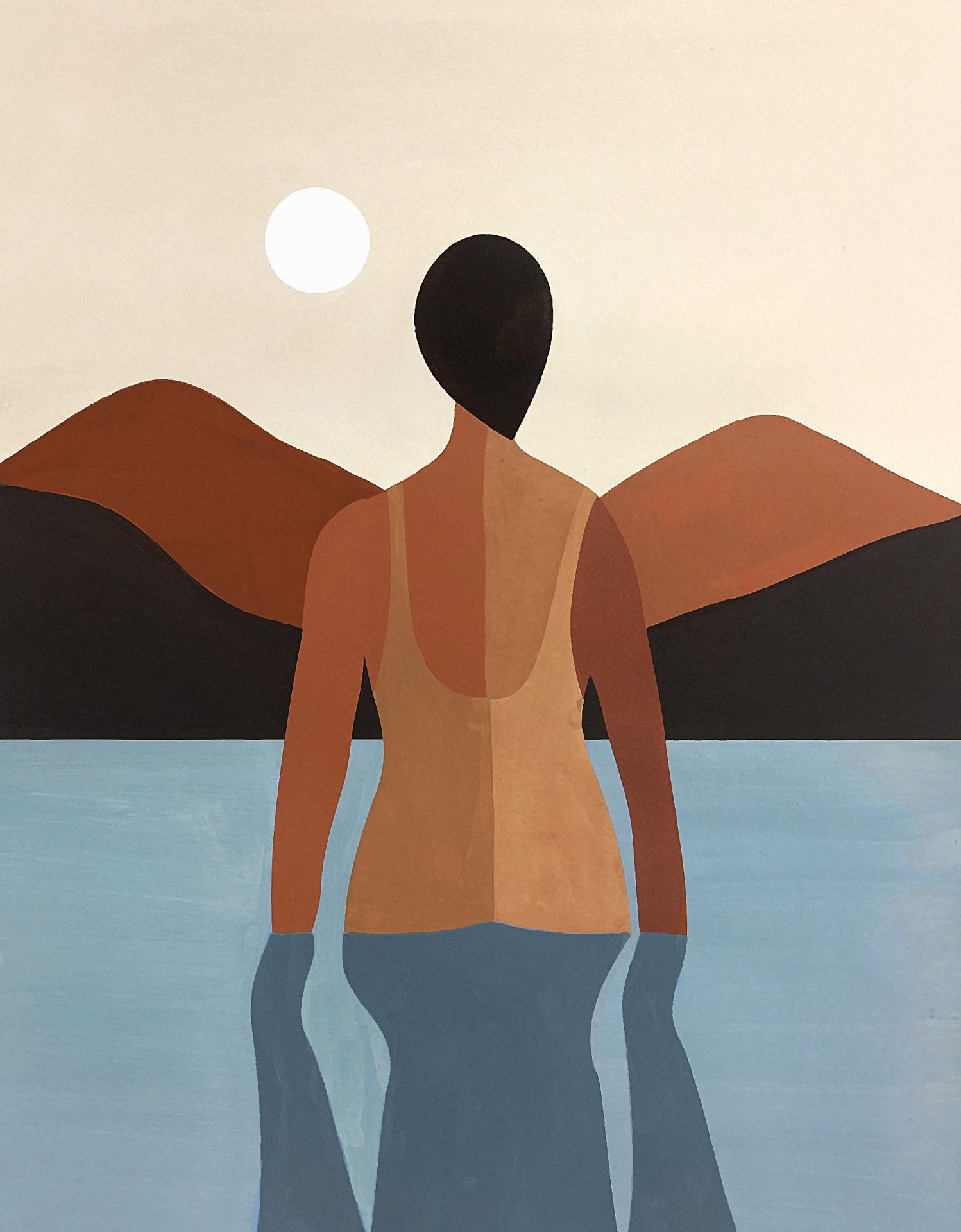 baignade au coucher de soleil
