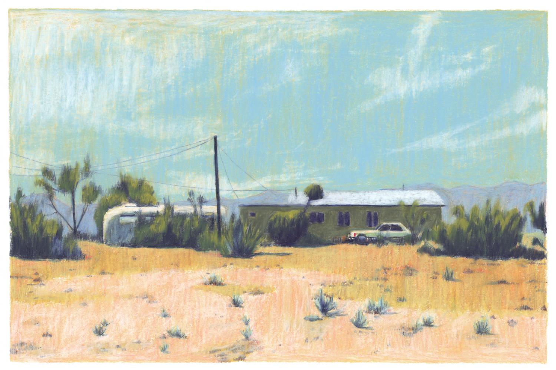 maison voiture désert sable