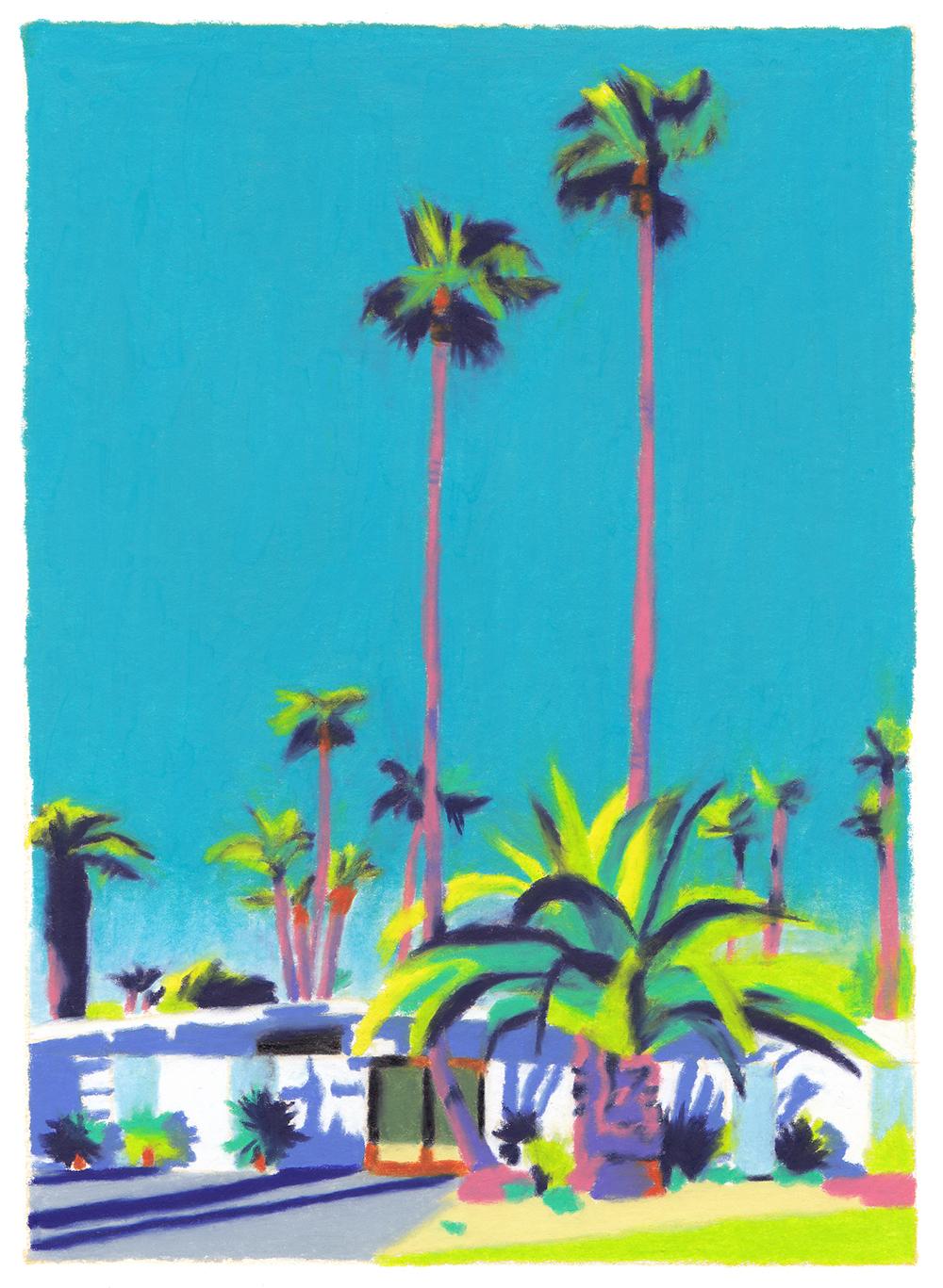 villa californienne palmiers ciel bleu