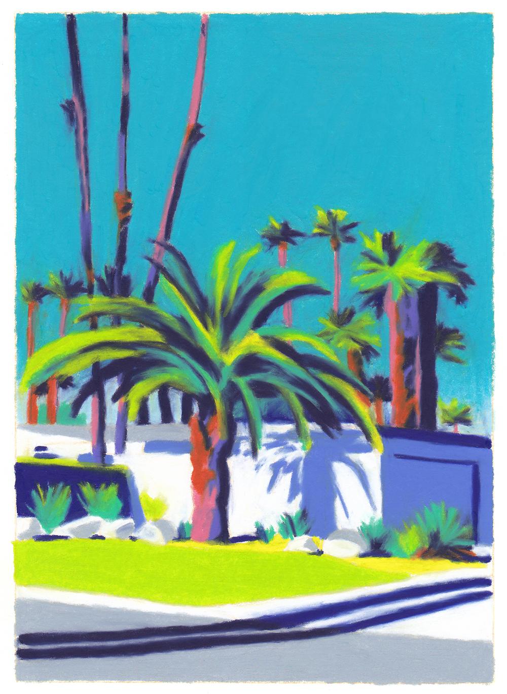 villa californienne ciel bleu palmiers murs blancs