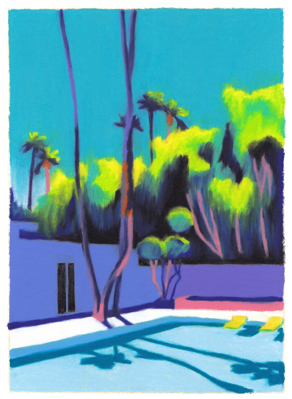 villa piscine arbres palmiers