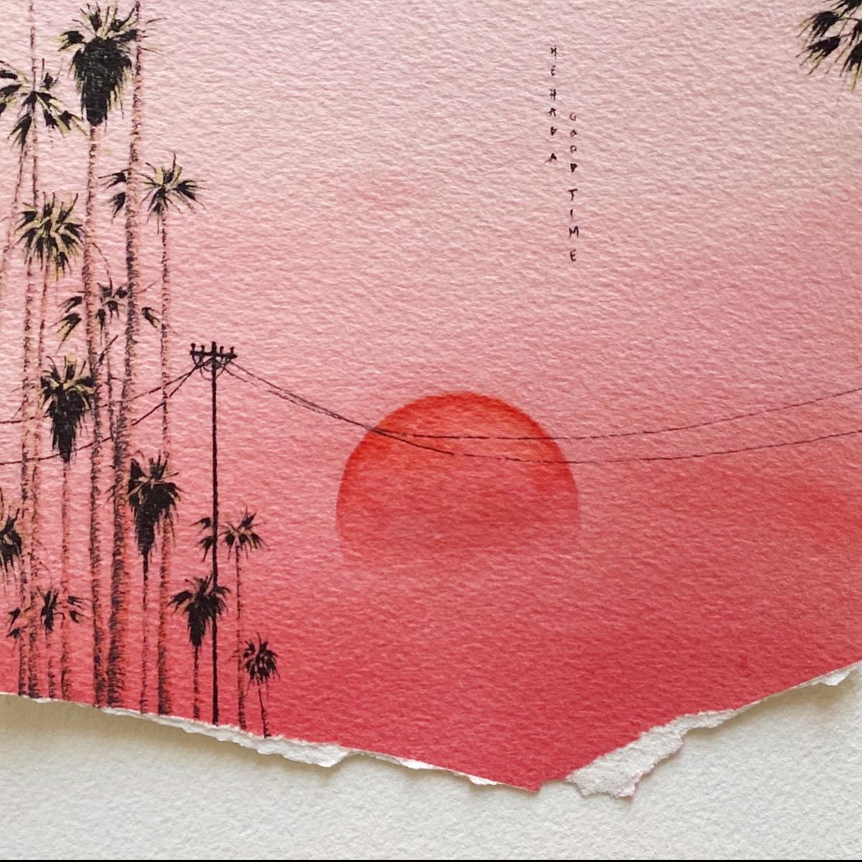 ciel rouge coucher de soleil palmiers