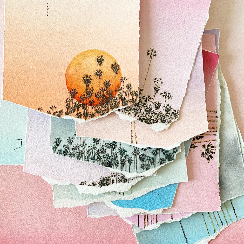 dessins palmiers dégradés couleurs