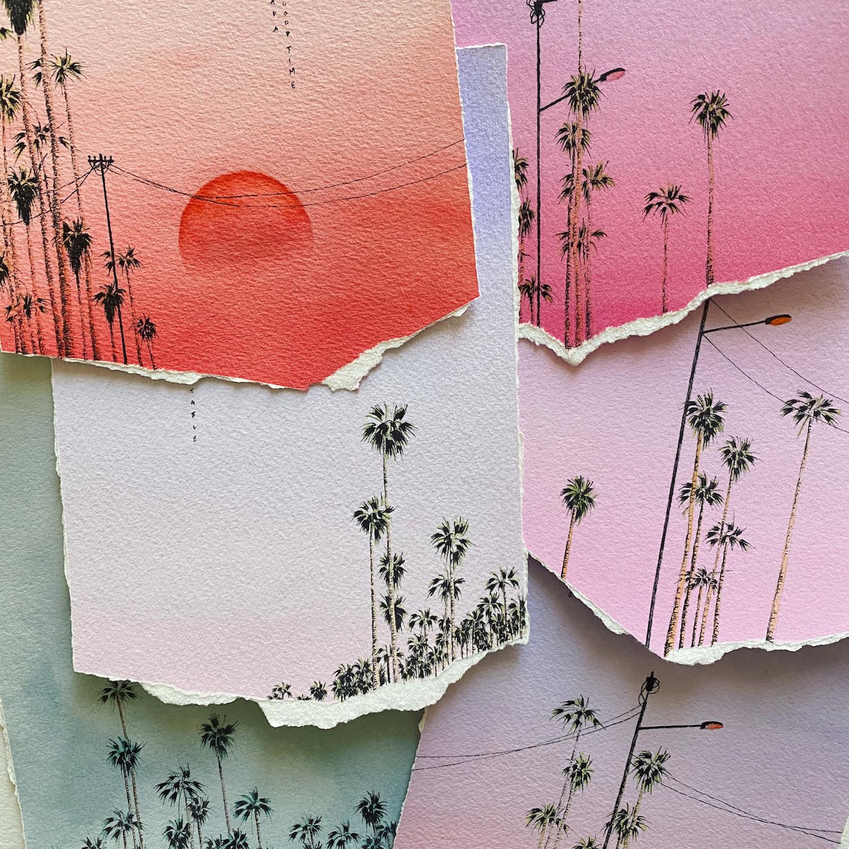 Julien Lischka palmiers feuilles papier dégradés