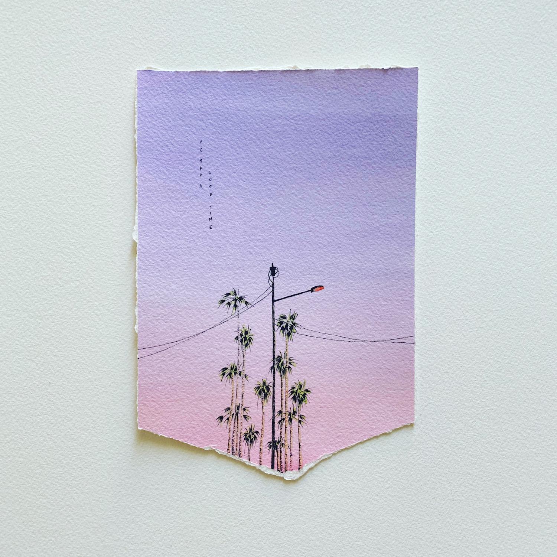 ciel du soir violet palmiers