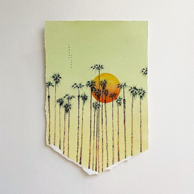 palmiers et soleil couchant fond jaune aquarelle