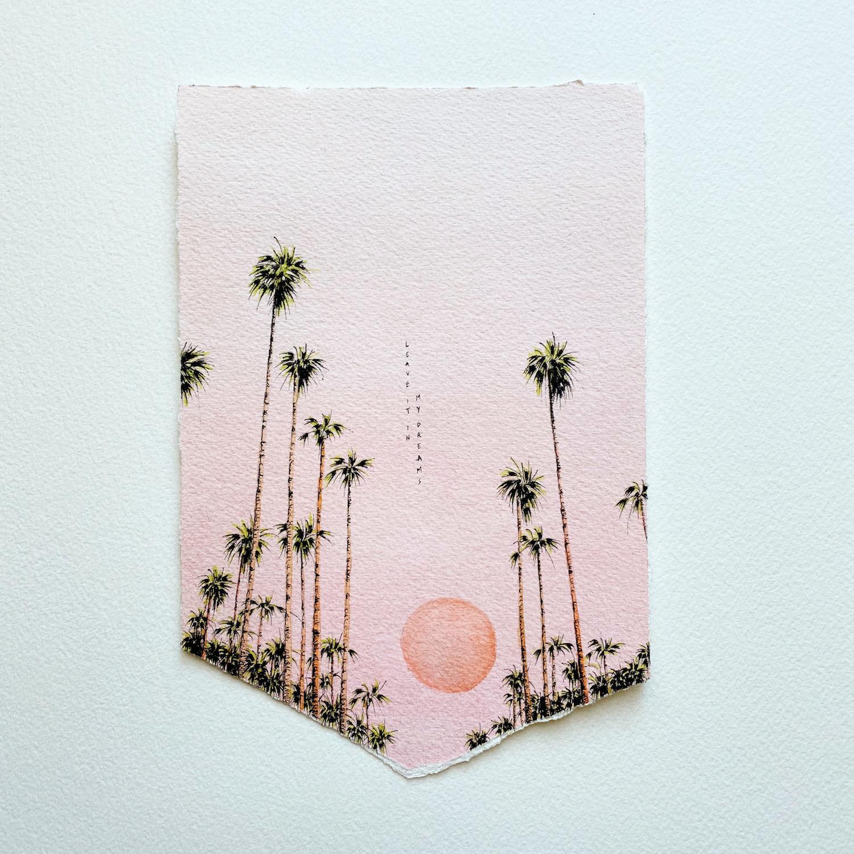 aquarelle ciel rose palmiers