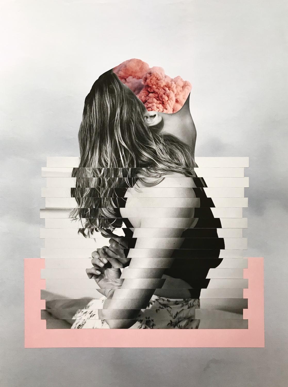 Collage femme gris et nuage rose