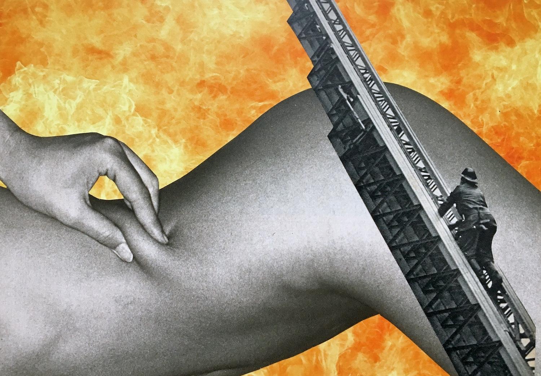 corps femme sur un fond de flamme et avec une échelle de pompier