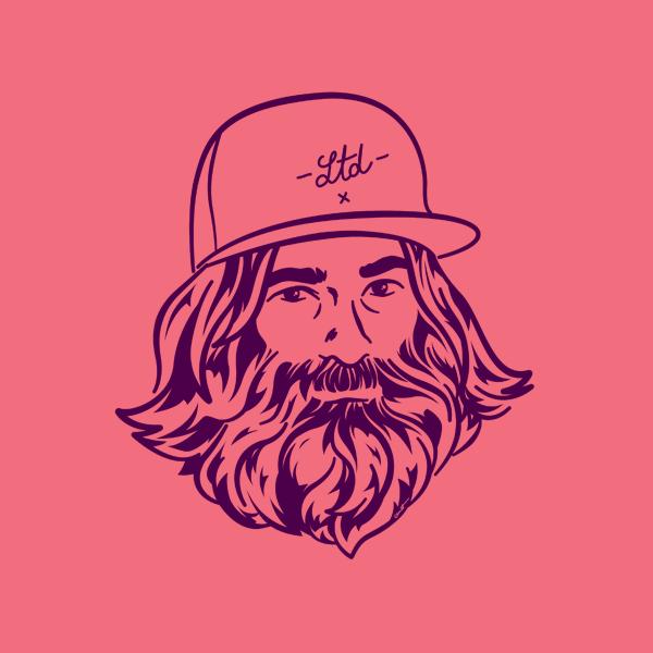 Illustration Le tournedisque homme barbu fond rose avec casquette