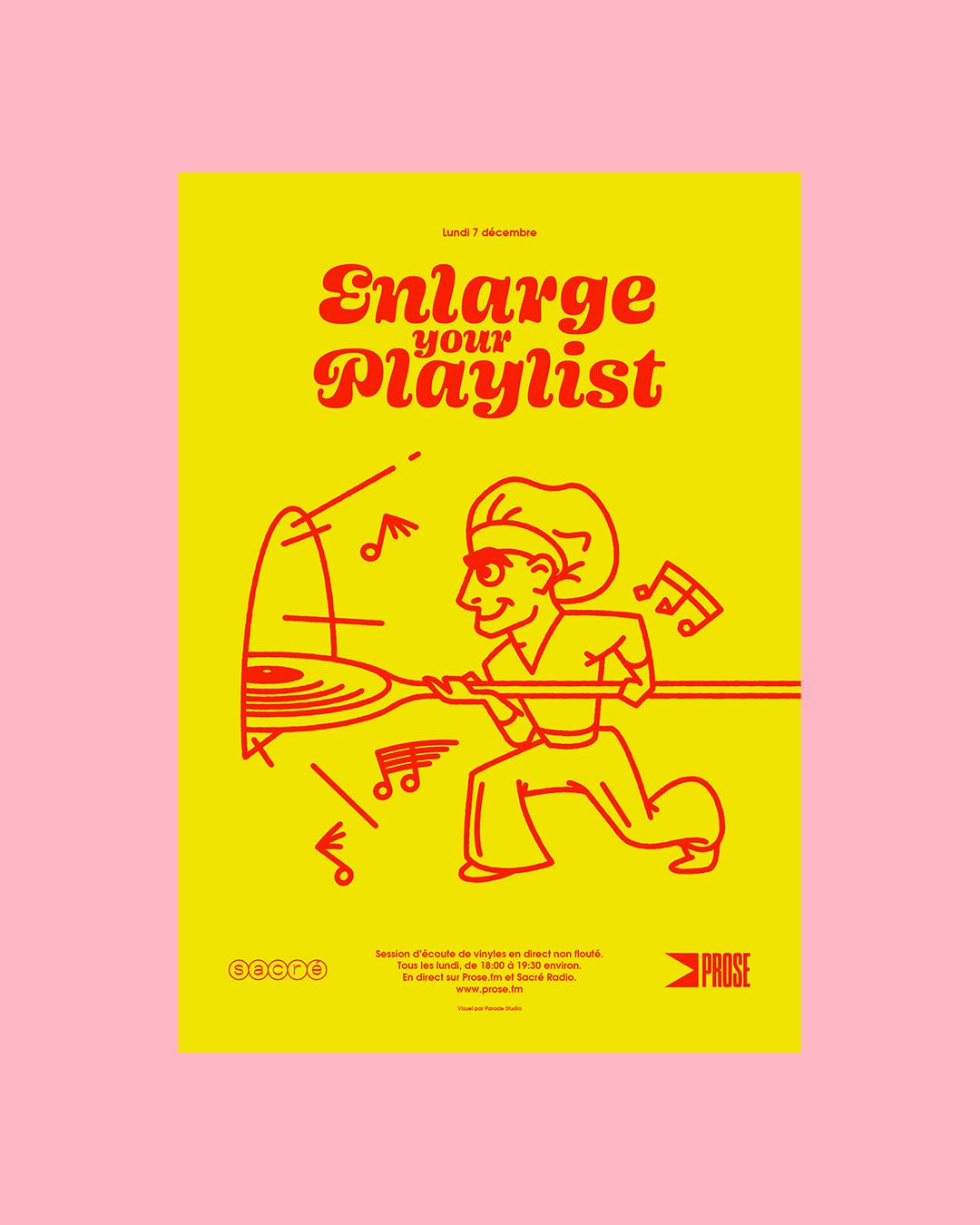 affiche illustration pizzaiolo musical jaune et rose Enlarge your playlist