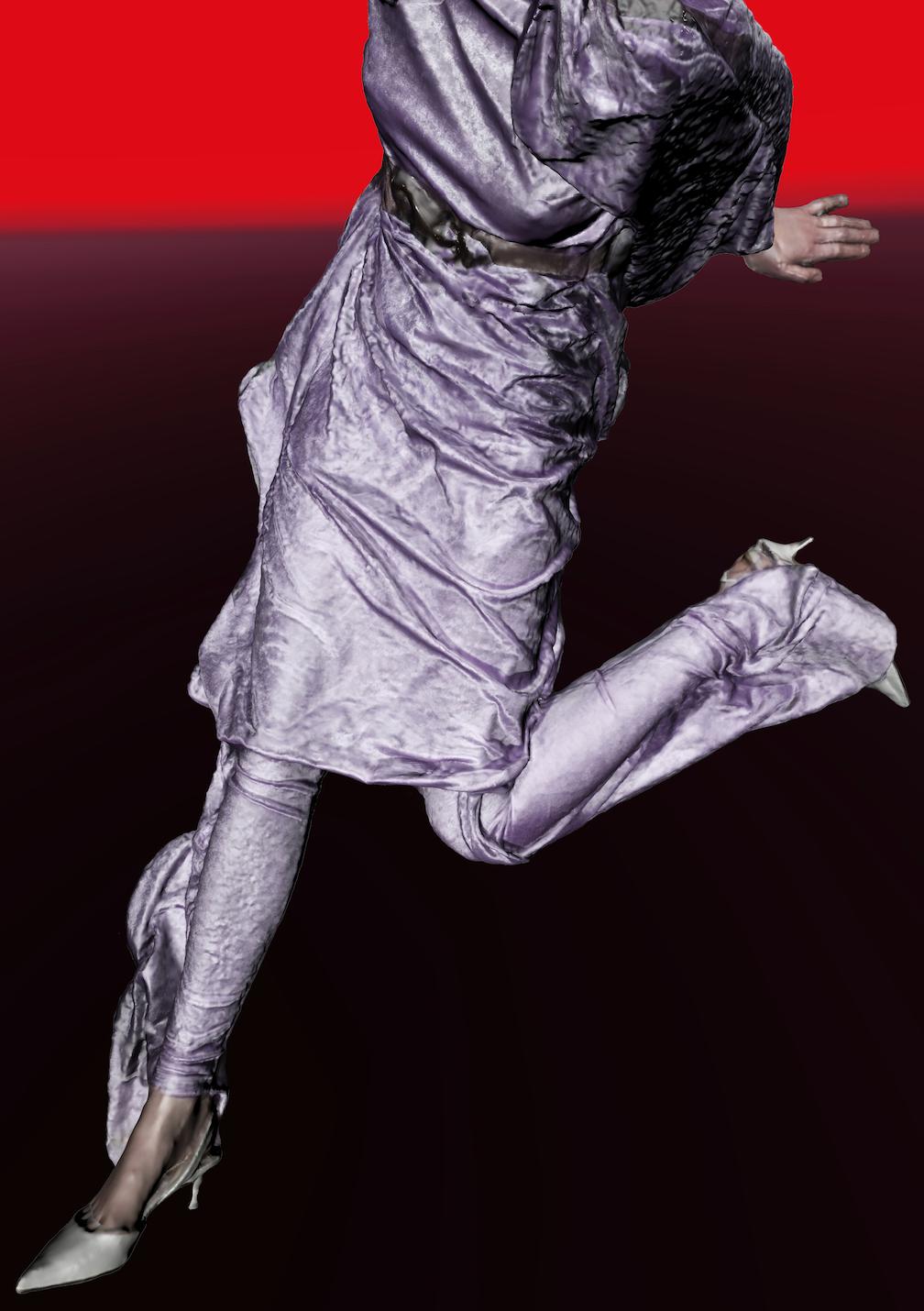 Corps de femme habillé d'argent sur fond rouge et noir