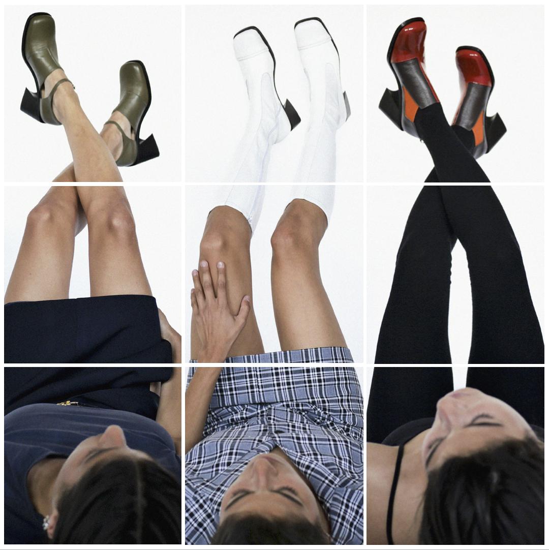 Collage représentant 3 mannequins pris de haut avec des chaussures vertes, blanches et noires