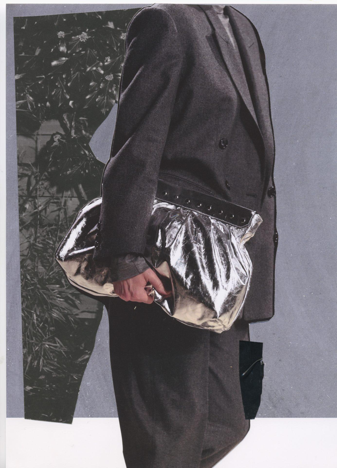 Collage d'une silhouette en costume gris portant un sac argenté