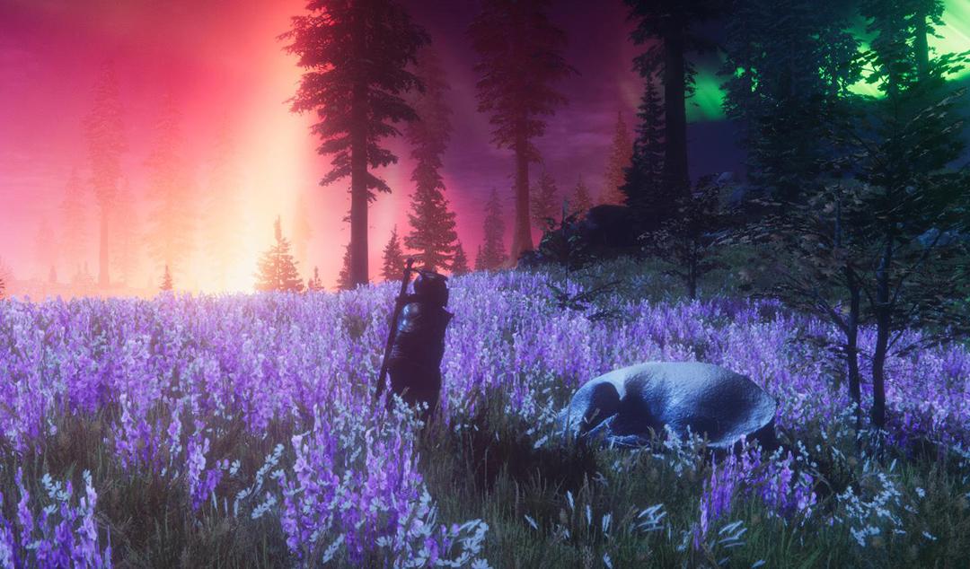 Extrait d'une oeuvre digital représentant un champ de fleurs violettes avec un guerrier