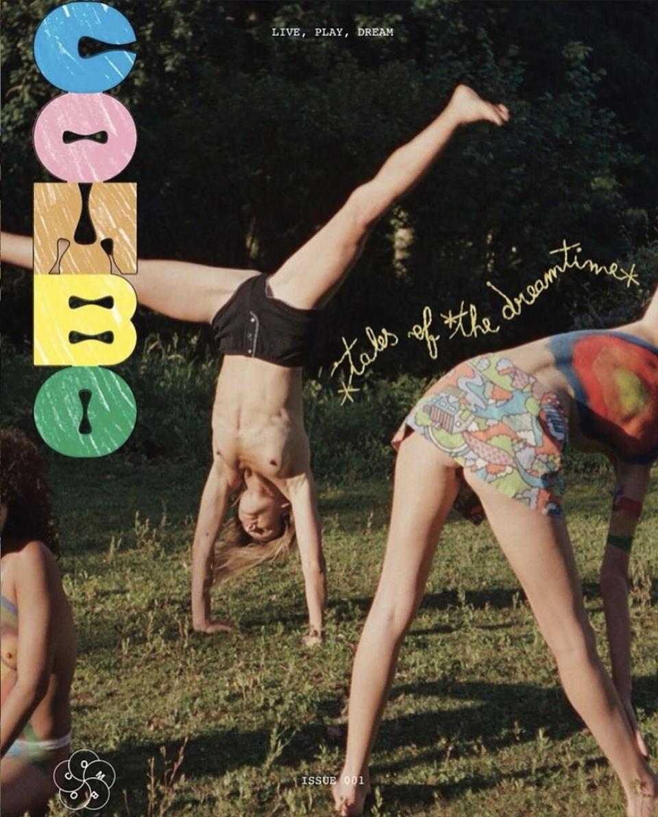 Couverturer du numero 1 de combo magazine. 3 femmes s'étirant sur une photographie rétro avec un ajout typographique