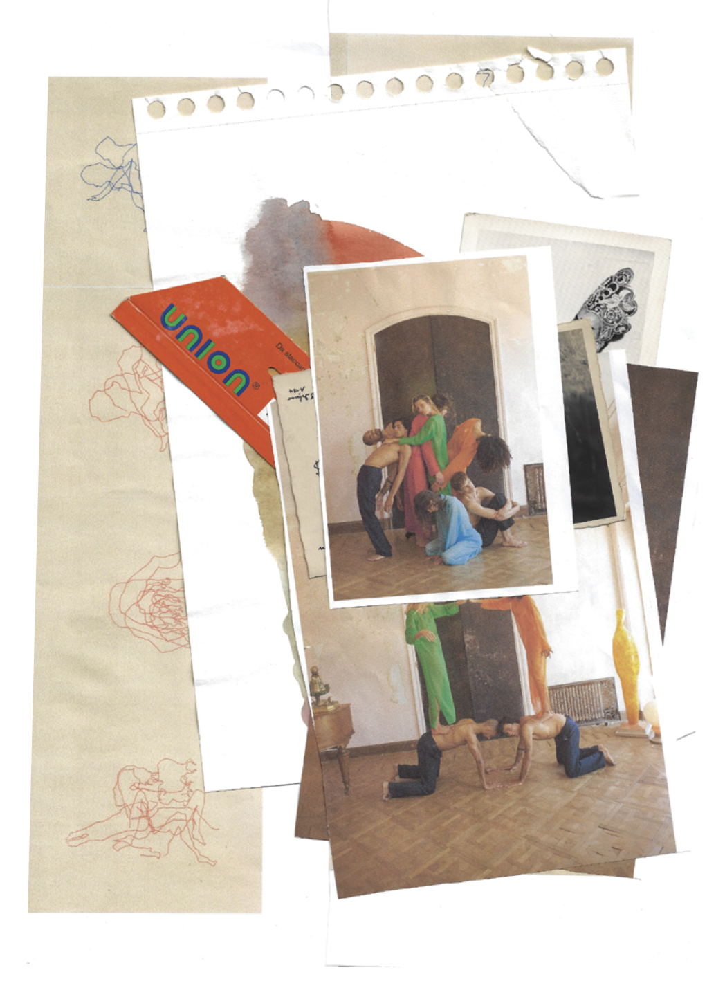 Collage de plusieurs photos et papiers dans des tons naturels avec des touche de rouge et vert