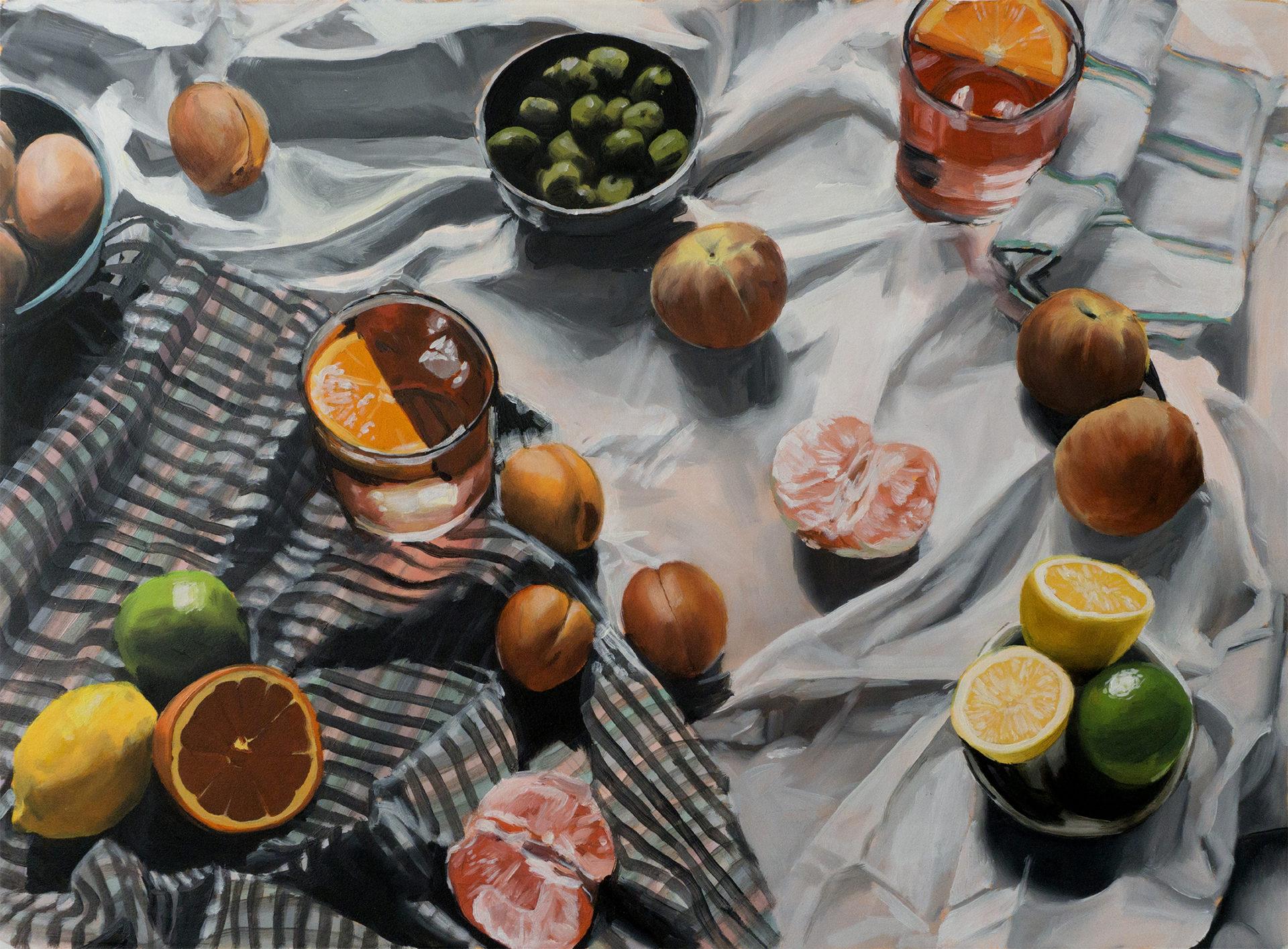 Peinture du pique-nique de Call me by your name avec plein d'agrumes et bol d'olive