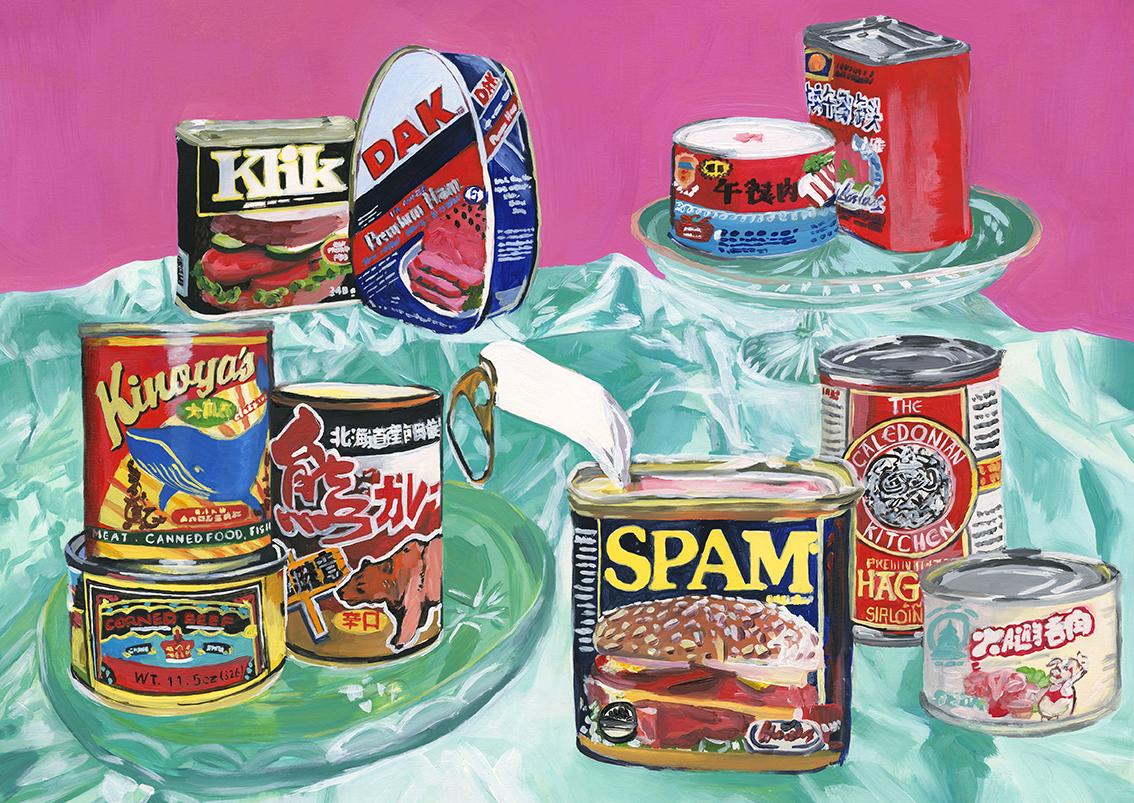 Peinture réaliste de conserves américaines sur une nappe bleu et mur rose