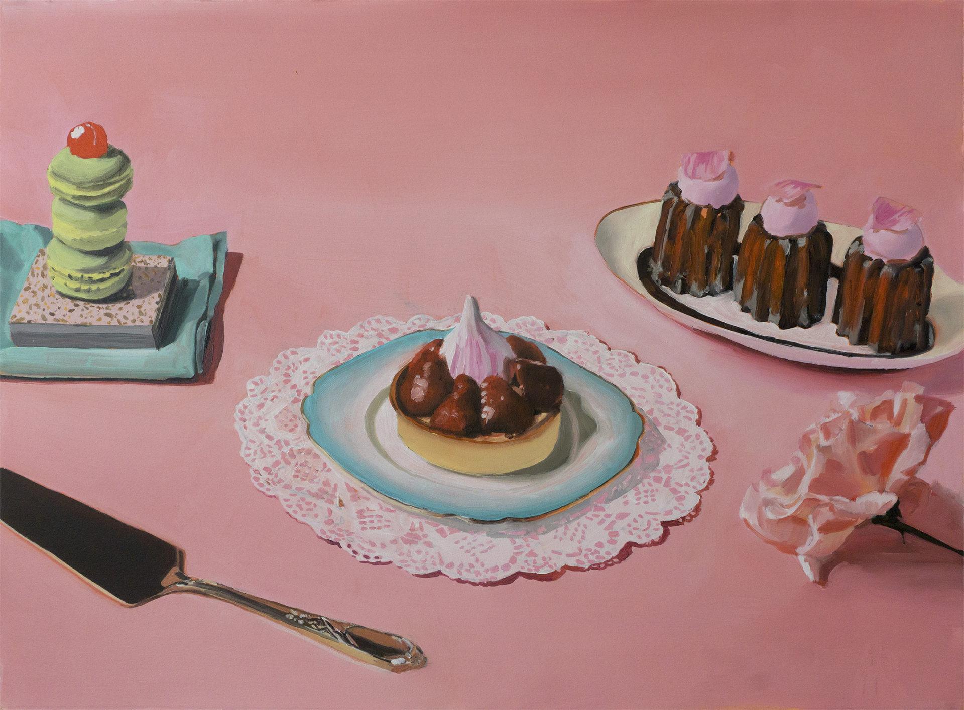 Peinture sur fond rose des gâteaux du Grand Budapest hotel en 3 assiettes