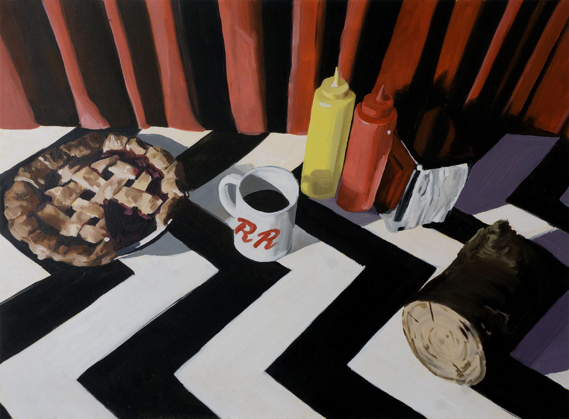 peinture d'une table de twin peaks avec une tarte, un café et les condiments